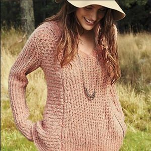 Anthropologie Pink Zip Side Sweater Like New Small